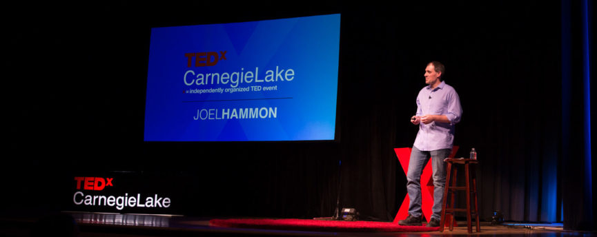 Joel Hammon on stage at TEDxCarngieLake