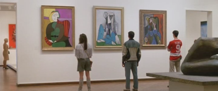 Image still from Ferris Buellers Day off, in front of Picasso exhibit
