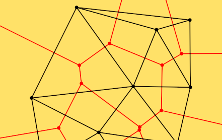 A part of a Voronoi diagram (red) and Delaunay triangulation (black) of a finite point set (the black points), on a yellow background